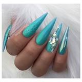 Aqua Blue Ombré Stiletto Nails