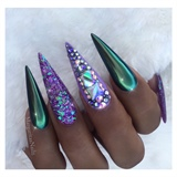 Green Chrome Purple Bling Stilettos