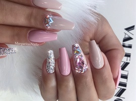 nail art: Nude Pink Bling Coffin Nails