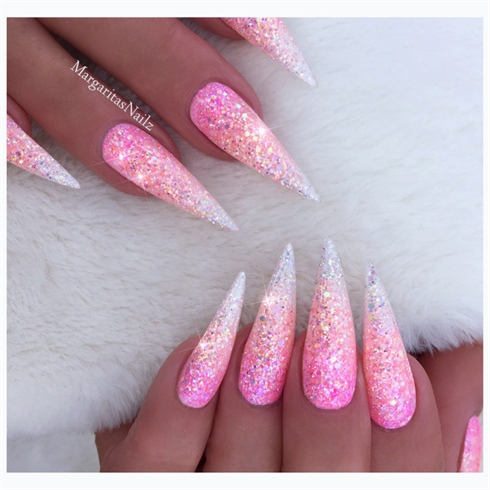 Pink Glitter Ombré Stilettos