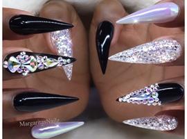 nail art: Black Bling Chrome Stilettos