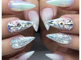 White Ombré Chrome Bling Stiletto Nails