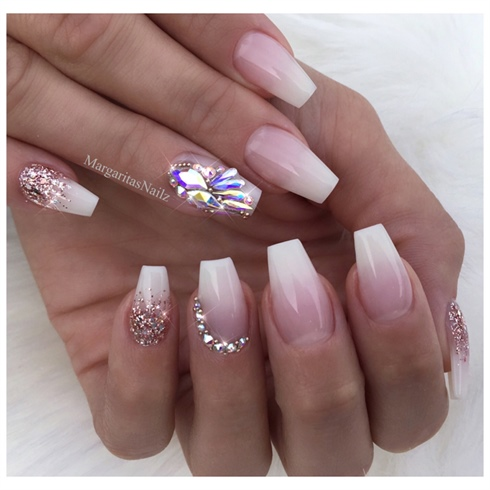 Faded French Ombr Bling Coffin Nails Nail Art Gallery