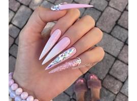 nail art: Baby Pink Ombré Bling Stilettos