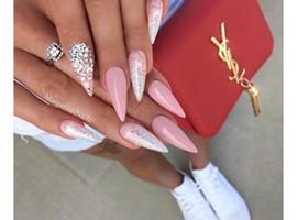 Nude Pink Ombré Glitter Stilettos