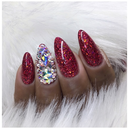 Red Glitter Bling Nails