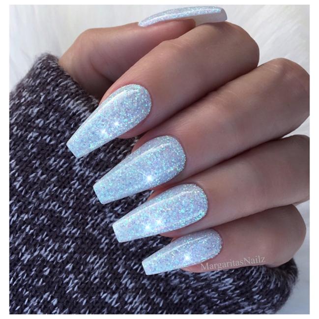 Ice Blue Glitter Nails Nail Art Gallery