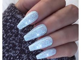 nail art: Ice Blue Glitter Nails