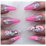 Barbie Pink Glitter Ombré Coffin Nails