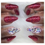 Red Glitter Bling Nails