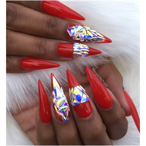 Red Bling Stiletto Nails