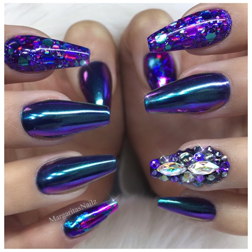 Blue Purple Chrome Coffin Nails