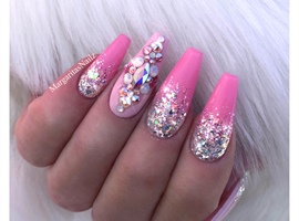 Glitter Ombré Pink Bling Coffin Nails