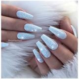 Ice Blue Glitter Coffin Nails