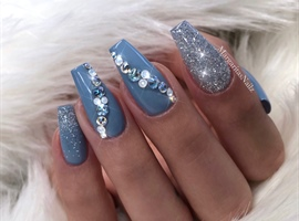 nail art: Blue Coffin Nails