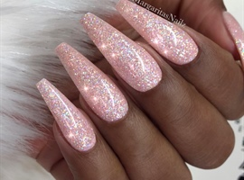 nail art: Sparkly Nude Glitter Coffin Nails