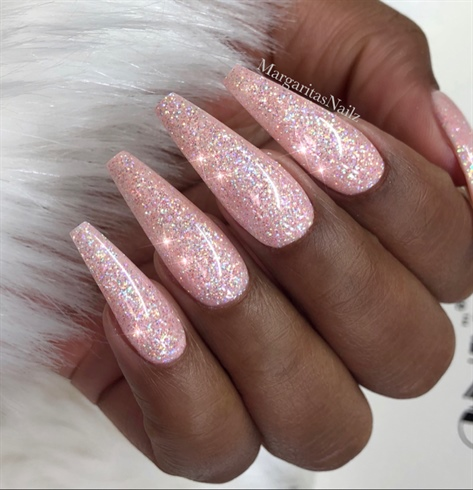Sparkly Nude Glitter Coffin Nails