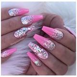 Pink Barbie Ombré Glitter Nails