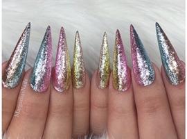 Sparkly Unicorn Ombré Stiletto Nails