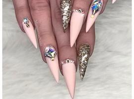 nail art: Nude Pink Matte Stiletto Nails