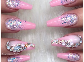 nail art: Barbie Pink Glitter Ombré Coffin Nails