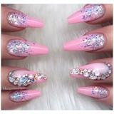 Barbie Pink Glitter Ombré Coffin Nails