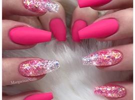 nail art: Pink Matte Glitter Coffin Nails