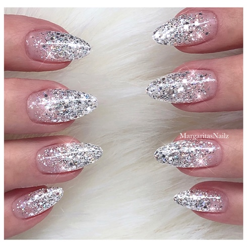 Silver Glitter Ombré Nails