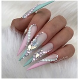 BabyPink Mint White Ombré Opal Nails