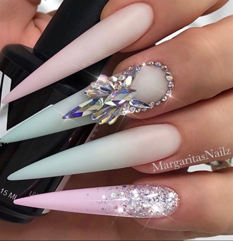 Pastel Ombré Bling Stiletto Nails