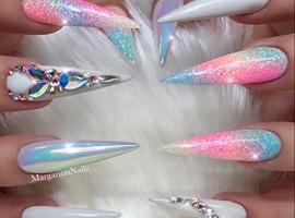 Rainbow Unicorn Chrome Ombré Stilettos