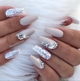 Nude Glitter Bling Coffin Nails