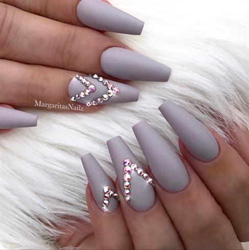 Matte Grey Coffin Nails