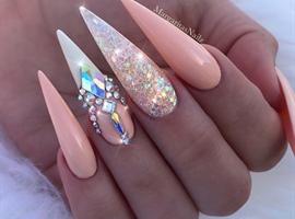 Peach Glitter Bling Stiletto Nails