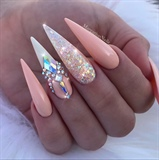 Peach Glitter Bling Stiletto Nails