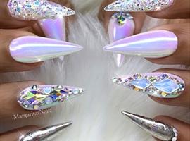 White Unicorn Chrome Bling Nails