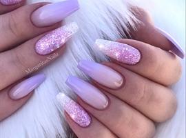 nail art: Lilac Ombré Glitter Coffin Nails