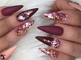 Rose Gold Glitter Ombré Matte Nails