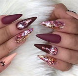 Rose Gold Glitter Ombré Matte Nails