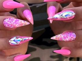 Barbie Pink Bling Ombré Stiletto Nails