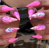 Barbie Pink Bling Ombré Stiletto Nails