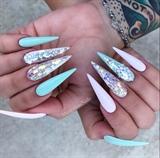 Mint Green Bling Stiletto Nails