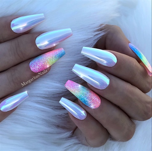 White Unicorn Rainbow Coffin Nails