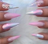 Baby Pink Ombré Glitter Clear Stilettos