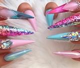 Baby Pink Blue Ombré Clear Stilettos