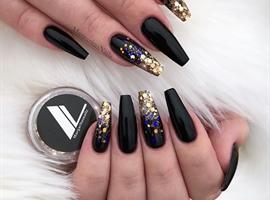 nail art: Rose Gold Ombré Black Coffin Nails