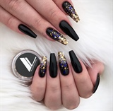 Rose Gold Ombré Black Coffin Nails