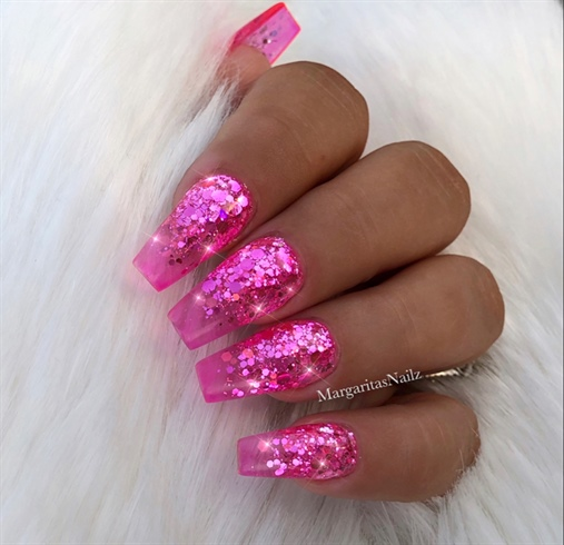 Clear Pink Jelly Glitter Ombré Nails Nail Art Gallery