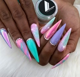 Unicorn Glitter Ombré Stiletto Nails