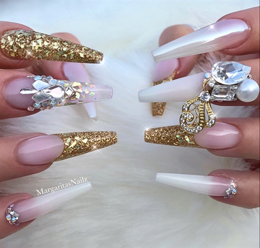 White Ombré Gold Bling Coffin Nails